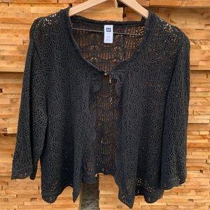 GAP Women's XXL Black Lace Button Shrug 3/4 sleeve